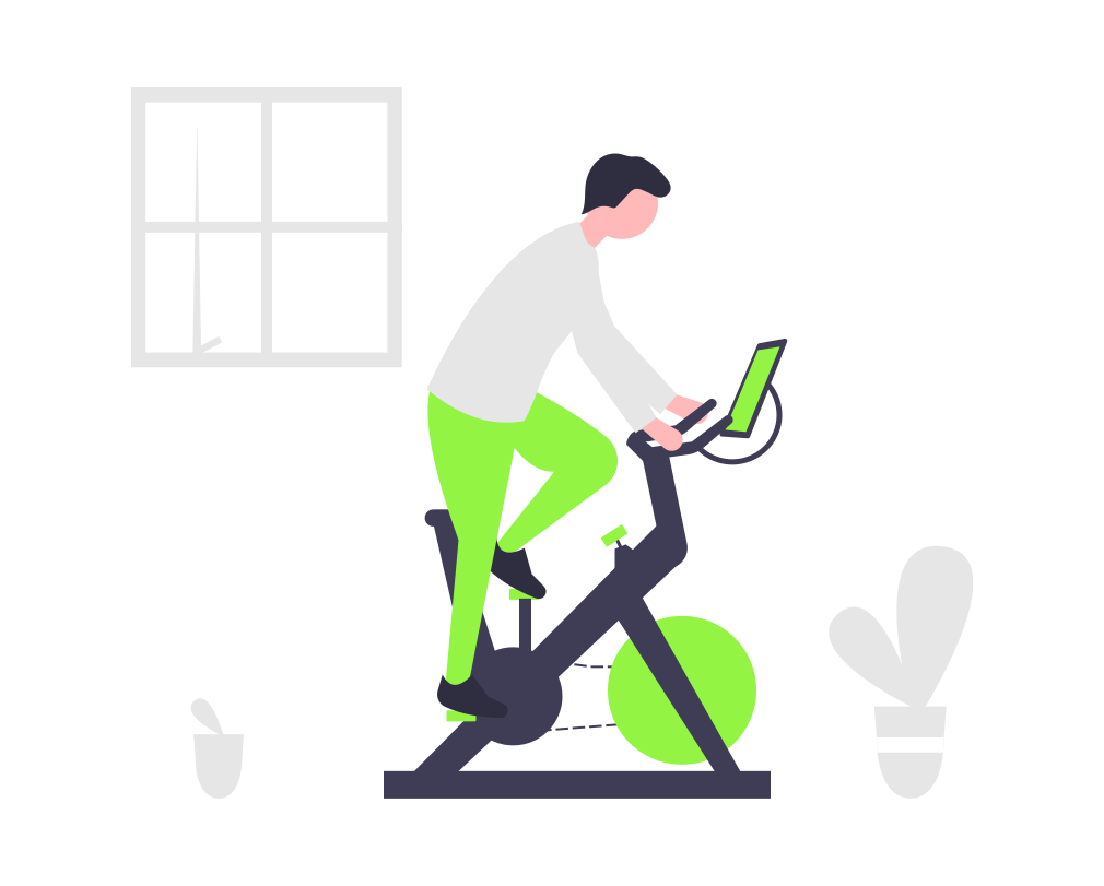Working out on an indoor bike for triathlon training