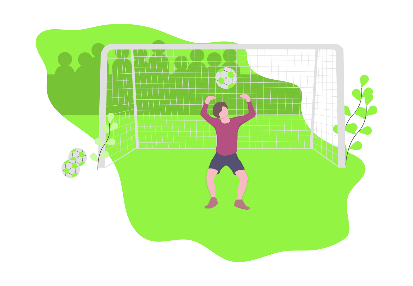 Football goalkeeper in animated inforgraphics